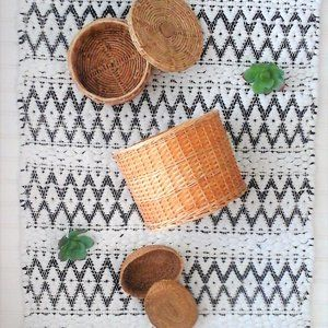 Vintage Set Of Wicker Baskets